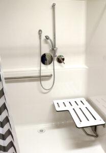 zero threshold shower with bench