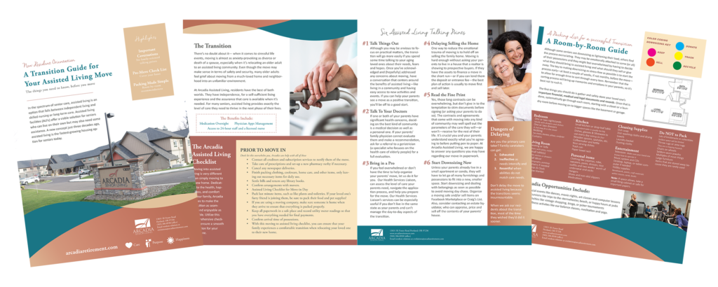 Arcadia Senior Living retirement guide preview image of four pages